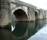 Stone bridge over the river Tuela, in Torre de Dona Chama, Mirandela
